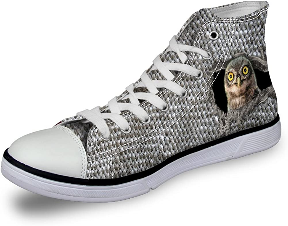 D-Story Custom Owl and Bird Mens Classic High Top Canvas Shoes Fashion Sneaker