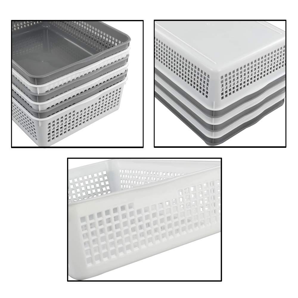 Set of 6 Morcte Plastic Paper Storage Baskets File Organization Trays