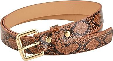 Snake Skin Print Vegan Leather Belt w//Gold Metal Buckle and Black Stretch Waist
