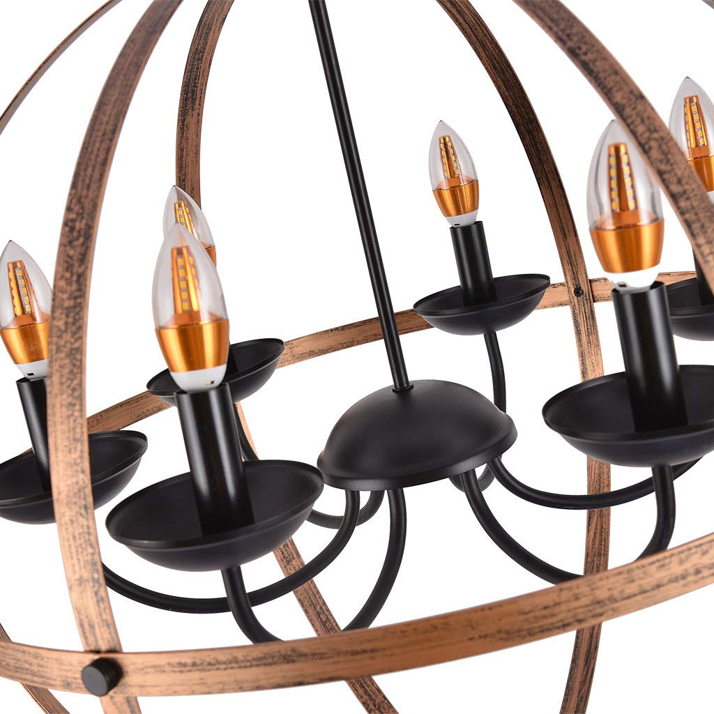 Vintage-Industrial Lamp,Six-Light Wrought Metal Semi Flush Mount Ceiling Light Lamp Ceiling Hanging Light with Cylinder Glass Shade for Kitchen Dining Room Bedroom Lighting (Bronze)