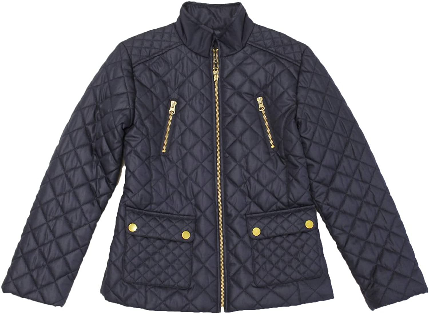 B-Ship Bhip Girls Quilted Zip Front Jackets With Snap Pockets, XS-4//5, Blue