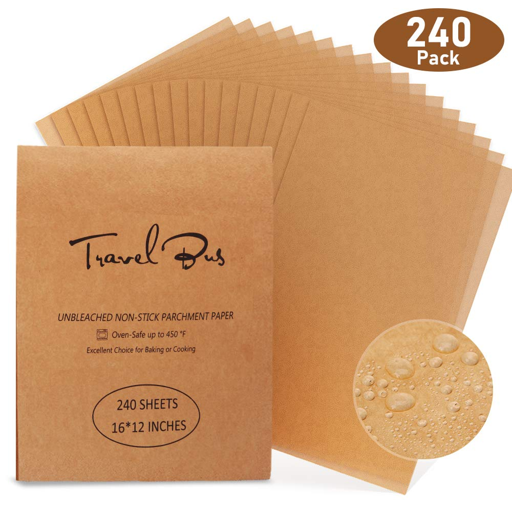 240 Pcs Parchment Paper Baking Sheets - TRAVEL BUS 12x16 Inches Precut Non-Stick Unbleached Parchment sheet for Baking Cooking Grilling Air Fryer Steaming Bread Cookie Cup Cake by TRAVEL BUS