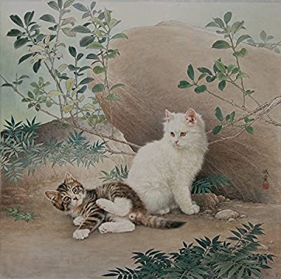 Two Cats Rest beside a Rock Oil Painting Reprodution. Based on Famous Traditional Chinese Realistic Painting. (Unframed and Unstretched).