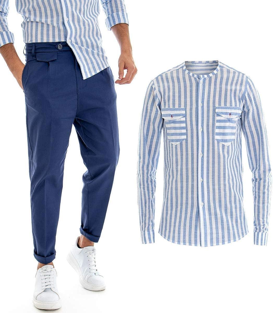 Giosal Outfit Camisa a Rayas Azul Cuello Coreano Completo ...