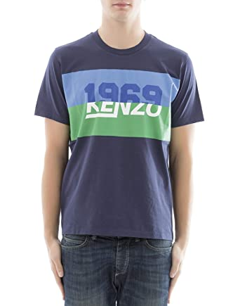 1819bdcd3cbb Image Unavailable. Image not available for. Color: Kenzo Men's  F855ts0184sb78 Blue Cotton T-Shirt
