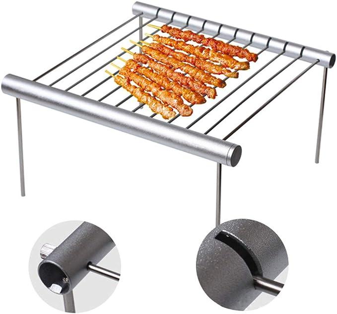 Grille de camping portable Mini barbecue compact pliable en acier inoxydable Amovible Léger Pour camping cars, randonnée, survie free size