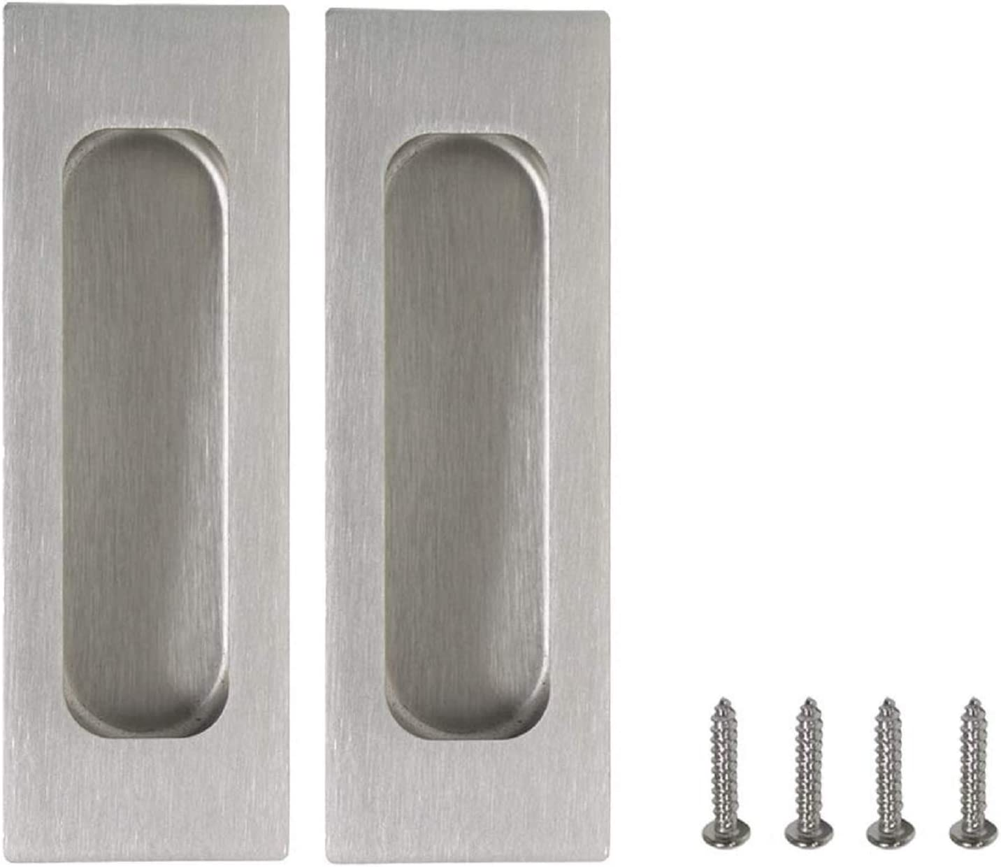 2 Pieces Brushed Nickel Sliding Door Pull Handle Rectangular Recessed Barn Door Pull Embedded Finger Pull with Hidden Screws