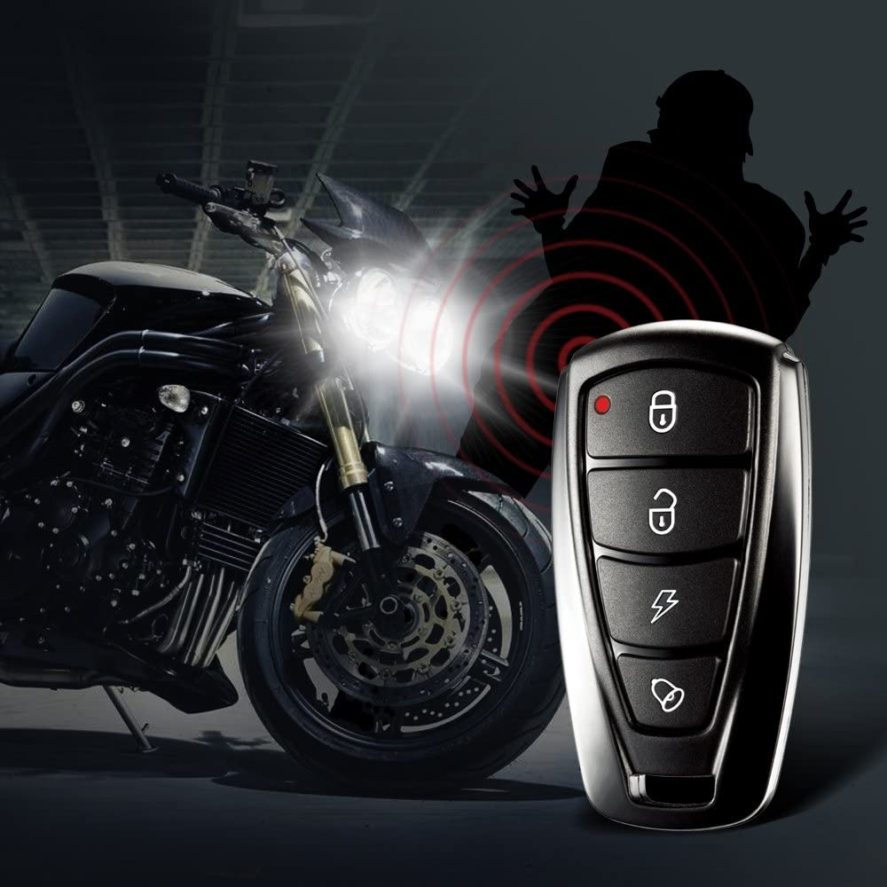 KKmoon 1 Way Motorcycle Alarm System Engine Immobilization Remote Engine Start with Two Transmitter 986F