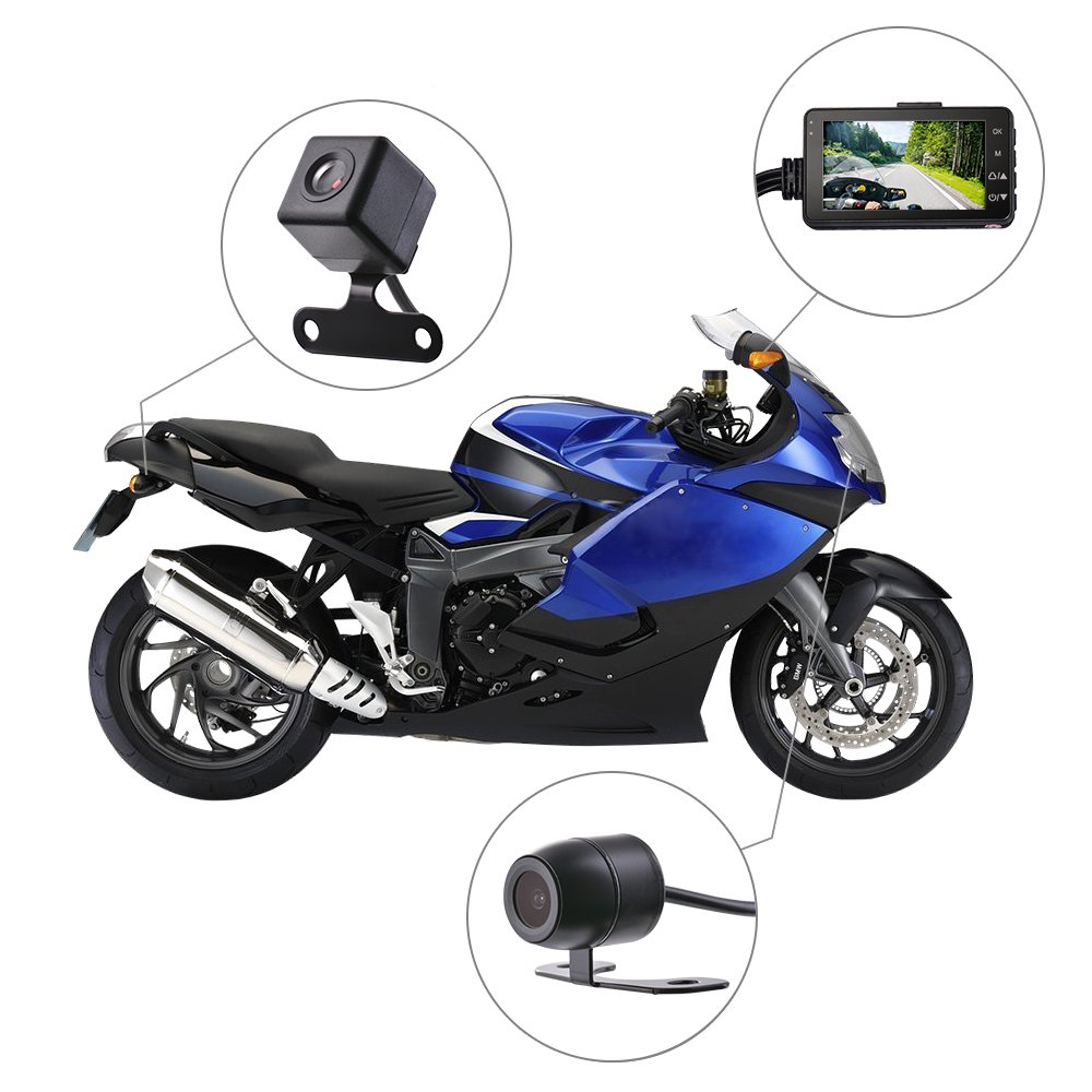 Kreema 3' LCD Motorcycle Camera DVR G-Sensor Motor Dash Cam 720P with Dual-track Front Rear Recorder Motorbike Electronics