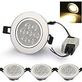 Auralum® Set da 4 Faretti LED Kit Lampadine LED Incasso 7W Luce Calda 2600-2800K Orientabili con Trasformatore