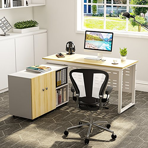 Computer Desk with File Storage Cabinet LITTLE TREE 55u201d Large Modern Office Desk Study Writing Table Workstation with 39u2033 Mobile Pinter Stand Office Suite ... & Computer Desk with File Storage Cabinet LITTLE TREE 55u201d Large ...