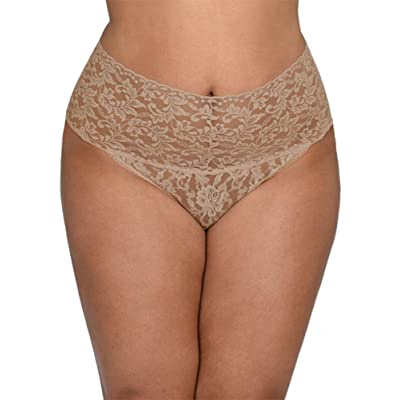 Hanky Panky Signature Lace Retro Thong Plus Size, One Size, Taupe: Clothing
