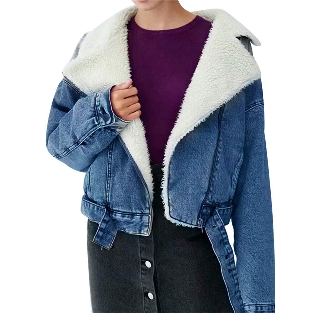 Quelife Women Winter Warm Thick Coat Cowboy Lamb Cashmere Cardigan Zipper Jacket (Blue,S)