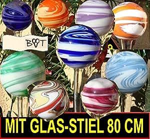 marmorierte Jardín bolas 80cm muchos colores gkmg con mango de Completo de vidrio Jardín bola Rose bolas