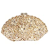 Digabi Flowers Shell Shape Women Crystal Evening Clutch Bags (One Size : 7.94.52.6 IN, white flowers crystal - gold plated)