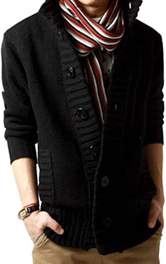 Mstyle Mens Button Down Fall Winter Knit Casual Stand Collar Regular Fit Pullover Sweater Jumper