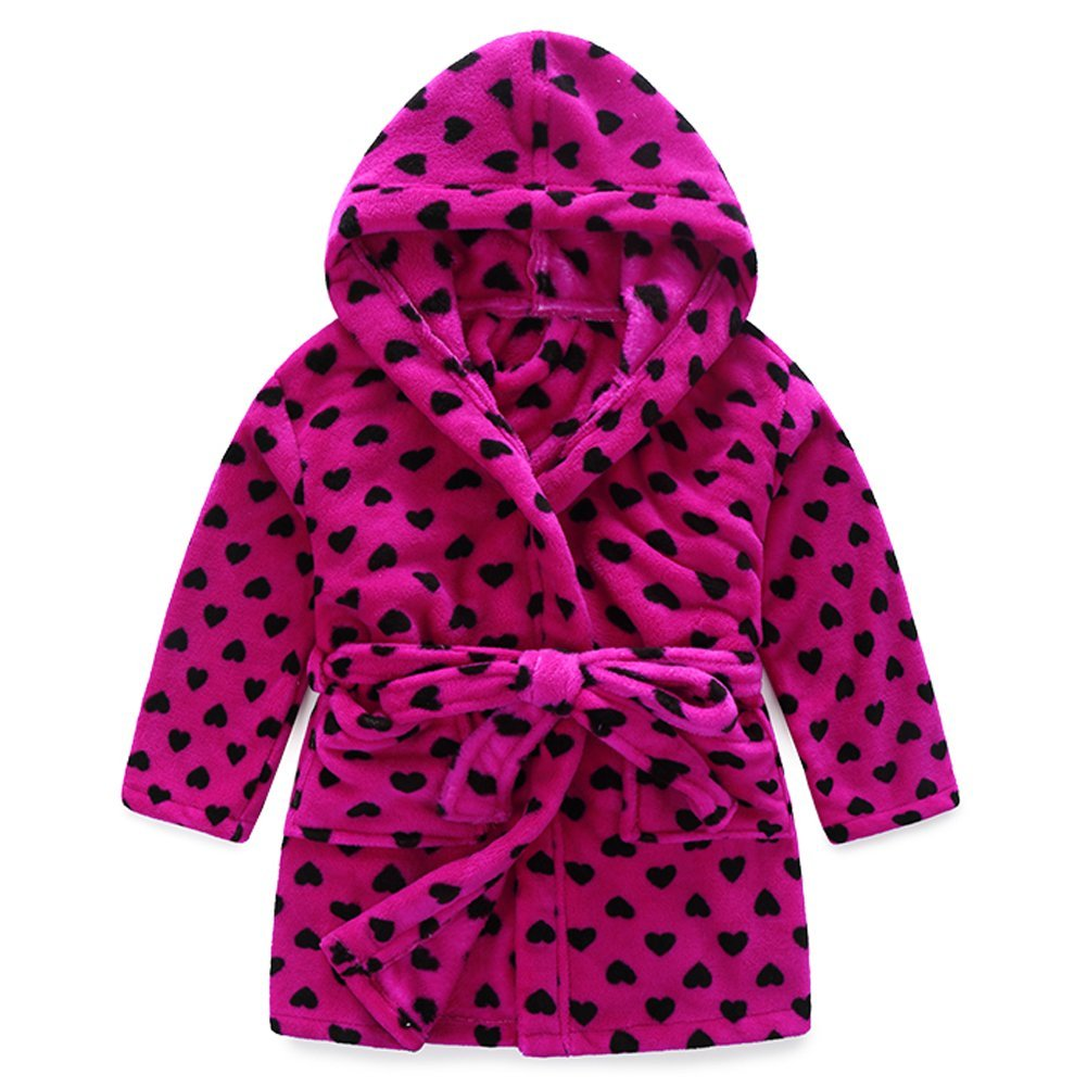 Evebright Kids Girls Soft Hooded Robe Cute Love Heart Soft Touch Plush Bathrobes Age 6-7