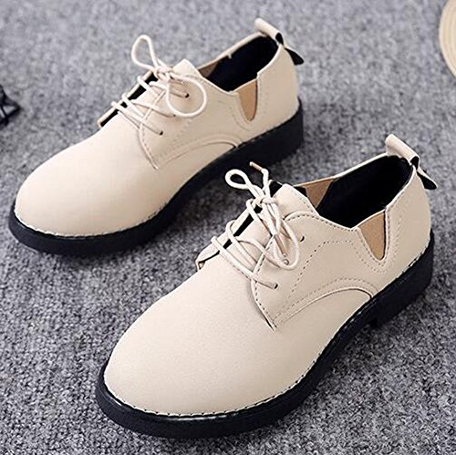 Heels Chunky Round Work Oxfords Women's Lace Top To Wear Shoes Low Up Low IDIFU Beige Toe Classic Rqf1wqgH