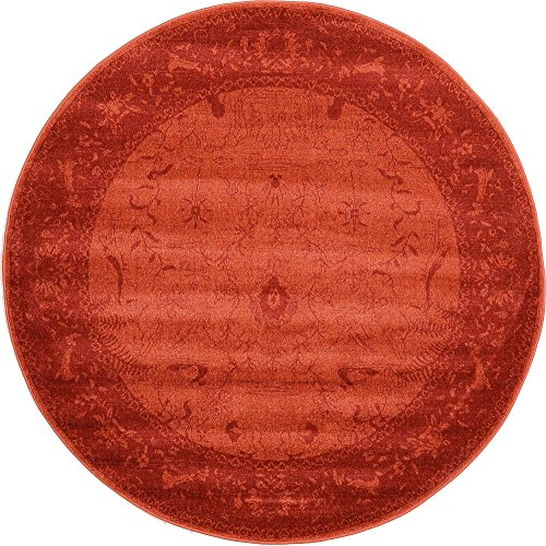 (Unique Loom La Jolla Collection Tone-on-Tone Traditional Rust Red Round Rug (6' 0 x 6' 0) )