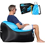 Air Chair by TREADWAY. Rapid inflation, compact/lightweight, inflatable air filled beach/camping chair - Ideal for festivals, gaming, fishing, dorm room, bedrooms & travel.