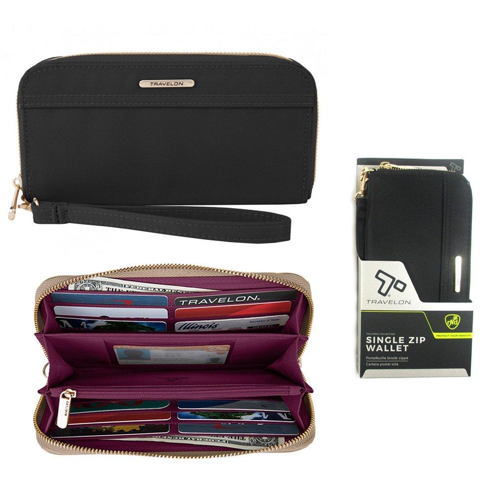 1 Travelon RFID Blocking Single Zip Wallet Womens Anti-Theft Purse Strap Black