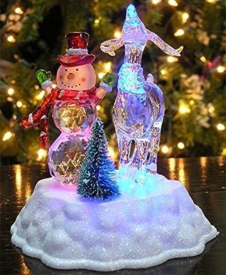 c76f3a3ebc0 Muñeco de nieve de Navidad – con luz LED figura de muñeco de nieve y reno  acrílico vacaciones
