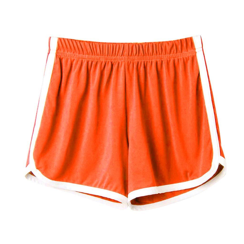 Sunyastor Fashion Women's Running Workout Shorts Sports Gym Yoga Shorts Cotton Pajamas Shorts Summer Beach Short Pants Orange