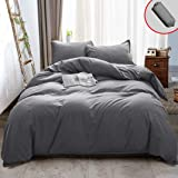 Vailge 3 Pieces Ultra Soft Duvet Cover Set with Zipper Closure, 100% 120gsm Microfiber Quality Premium Duvet Cover, Light Weight & Easy Care Bedding Duvet Cover (Grey,Full) King Grey B07G2M6GCN