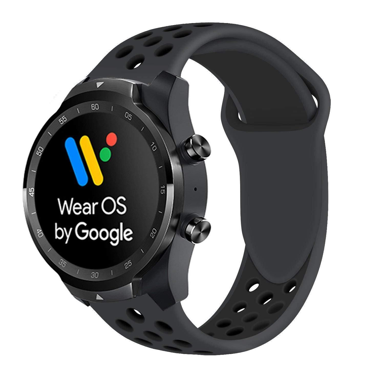 Ceston Deporte Silicona Clásico Correas para Smartwatch TicWatch Pro (Todo Negro)