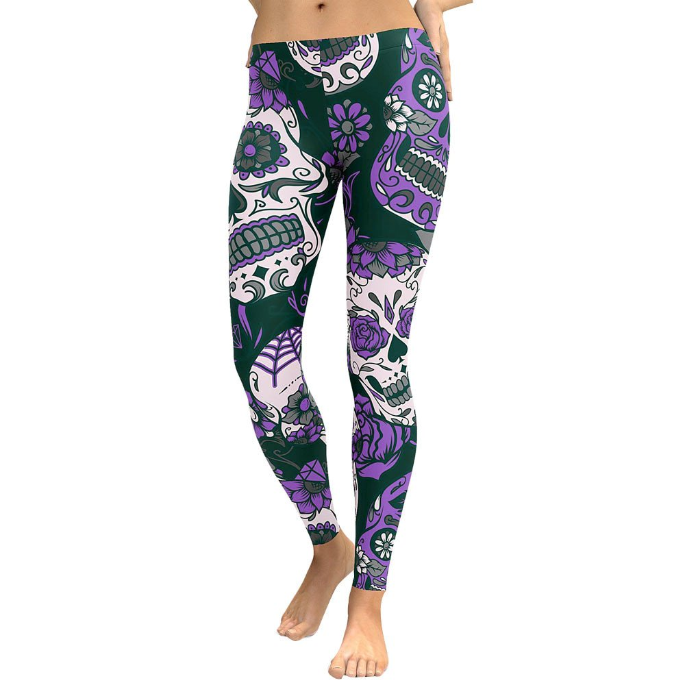 Lmtime Womens Skull Print Leggings Low Waist Gym Yoga Running Fitness Leggings Pants Workout Clothes (S, Purple)