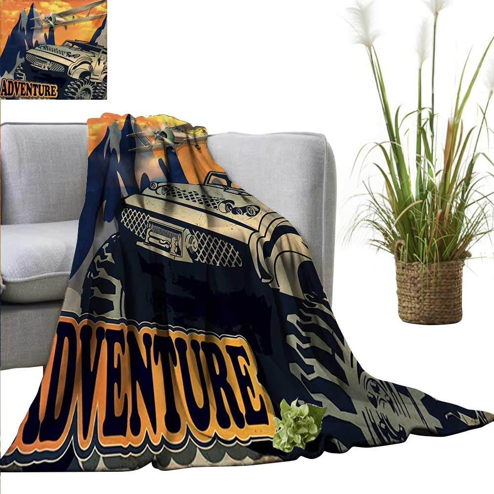 """PearlRolan Beach Blanket Adventure,Grunge Retro Poster of a Big Car with Huge Tyres and Biplane on The Mountains,Orange Tan Cozy and Durable Fabric-Machine Washable 35""""x60"""""""