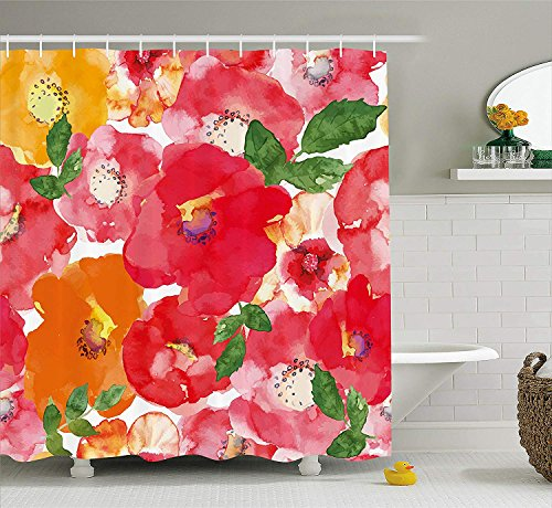 - Flower Decor Shower Curtain Watercolor Style Effect Floral Theme Beautiful Flowers and Leaves Pattern Fabric Bathroom Decor Set with Hooks Extra Long Orange Red 72