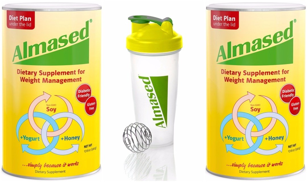 Almased High Quality Non-GMO with Soy, Yogurt and Honey, Protein Powder, Supports Weight Loss, Optimal Health and Maximum Energy, 17.6 Ounces 2-Pack with 1 Blender Bottle by ALMASED