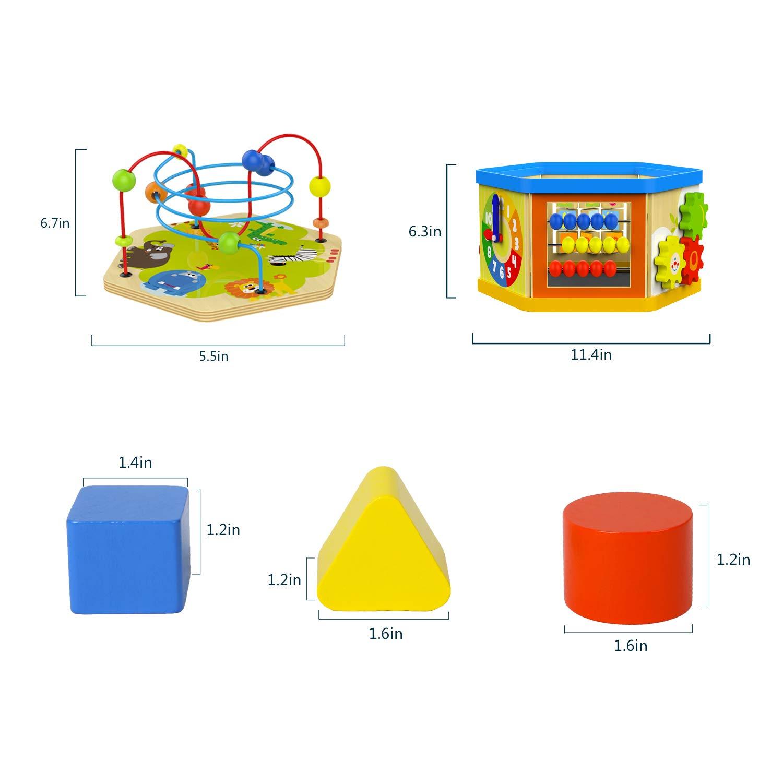 TOP BRIGHT Activity Cube Toys Baby Wooden Bead Maze Shape ...