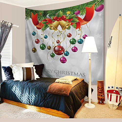 Christmas Decorations Tapestry Wall Hanging by IMEI, 3D Print Fabric Kids Holiday Party Wall Art Hanging for Living Room Office Dorm and Bedroom (80 X 60 Inch, Christmas Colorful (Christmas Wall Decoration Ideas)