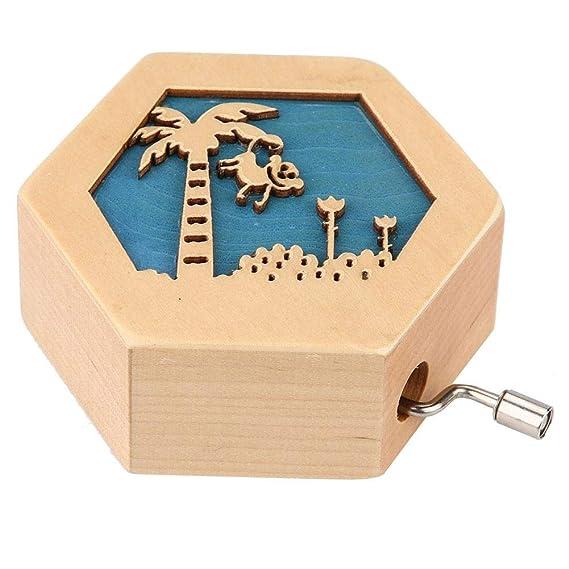 AUNMAS Clásico Tallado de Madera Caja de música Forma Hexagonal con patrón Animal manivela Caja Musical Cumpleaños de Navidad Regalo del día de San Valentín (2#): Amazon.es: Hogar