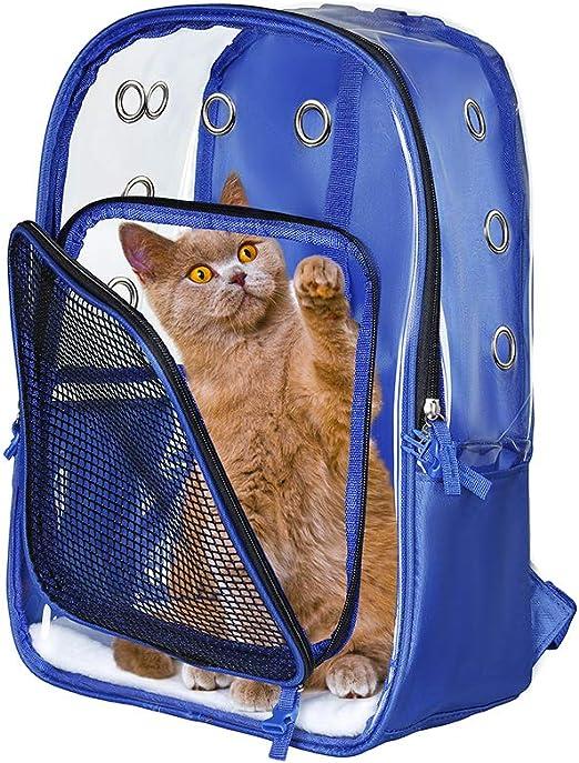 Lyns Bolsa para Mascotas, Mochila pequeña para Gatos/Perros, Bolsa de Viaje para Mascotas, Todo Transparente, Impermeable y liviano, Transpirable, Porta Mascotas (Azul): Amazon.es: Productos para mascotas