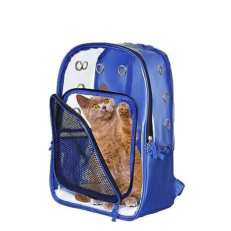 Lyns Bolsa para Mascotas, Mochila pequeña para Gatos/Perros, Bolsa de Viaje para Mascotas, Todo Transparente, Impermeable y liviano, Transpirable, ...