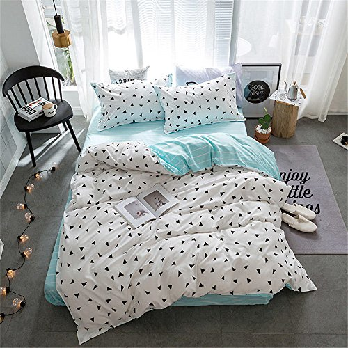ZHIMIAN Reversible 3 Piece Striped Print Duvet Cover Set Wit
