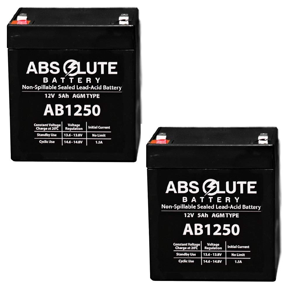 2PK New AB1250 12V 5Ah Scooter Battery Replaces 4.5Ah Enduring 6FM4.5, 6 FM 4.5 by Absolute Battery