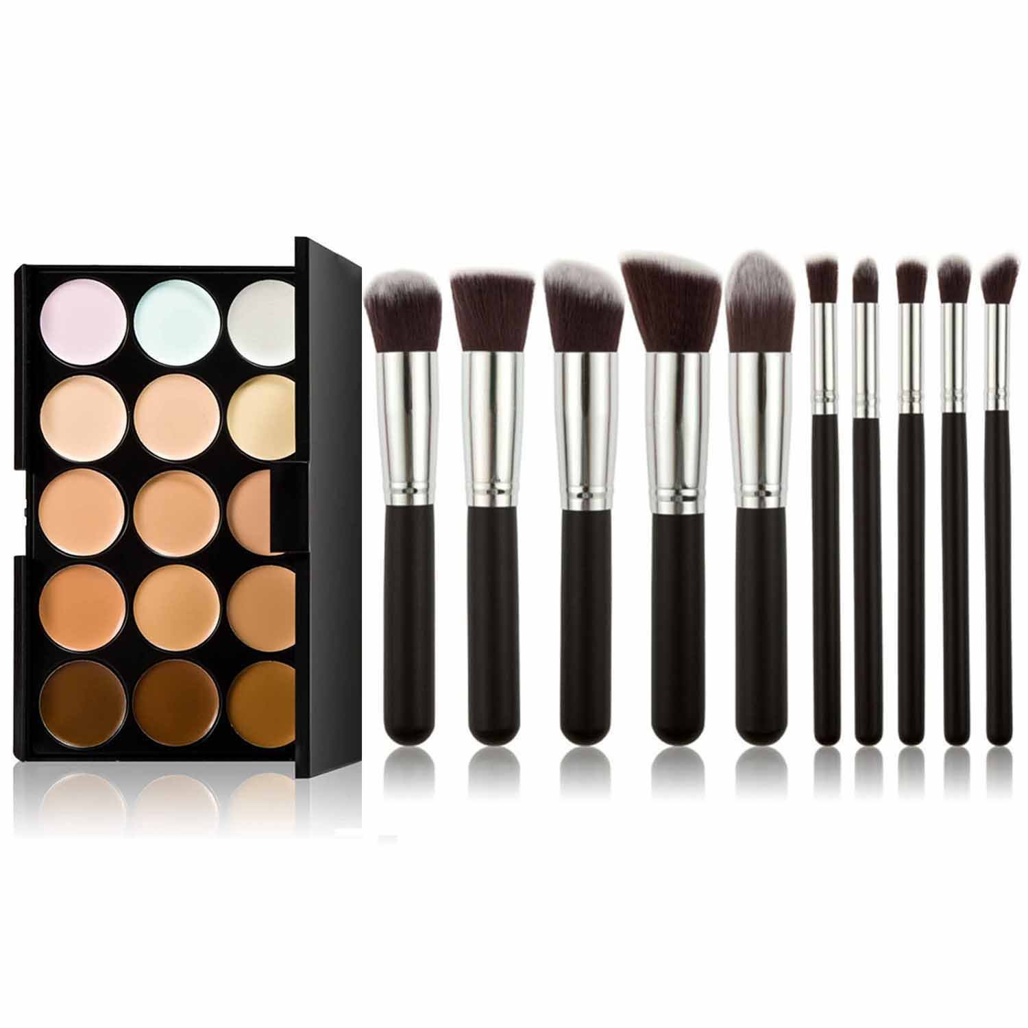 Elisona-15 Colors Cosmetic Make Up Concealer Palette Foundation Cream With Powder Brush