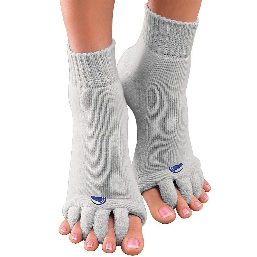 Original Foot Alignment Unisex Toe Spacer Socks 1 Pair Gray Relieves Pain