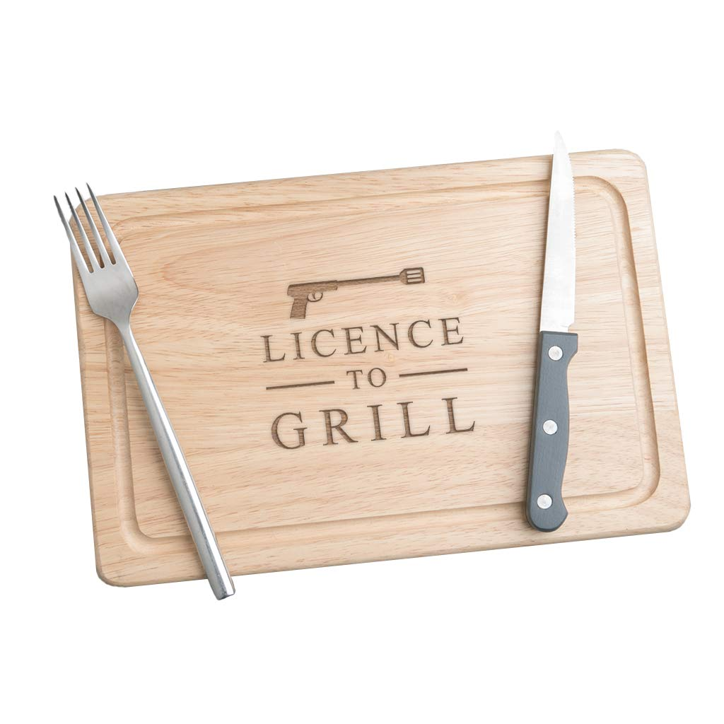 Licence to Grill Wooden Chopping Board - Meat Serving Board - Funny Gifts for Men Birthday Christmas - Novelty Cooking Gifts for Men - Kitchen Gifts for Men - Gifts for Men Who Cook - James Bond Gifts Dust and Things