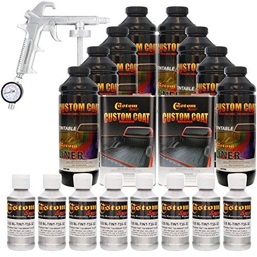 Custom Coat BRIGHT SILVER 8 Liter Urethane Spray-On Truck Bed Liner Kit with (FREE) Custom Coat Spray Gun with Regulator