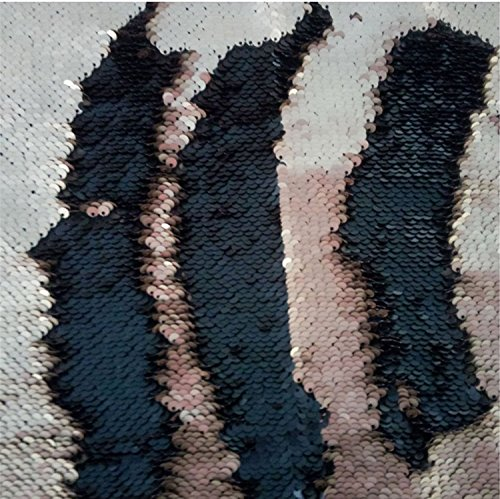 (TRLYC One Yard 5MM Reversible Sequin Fabric Rose Gold and Black Sequin Fabric, by The Yard, Mermaid Sequin Fabric, Linen)