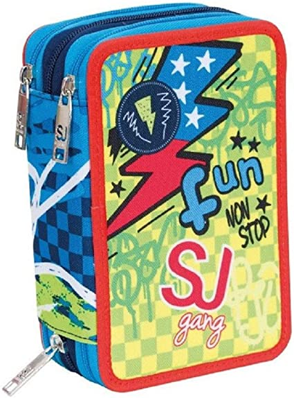Estuche escolar triple completo SJ Gang Boy Fun azul y verde: Amazon.es: Oficina y papelería