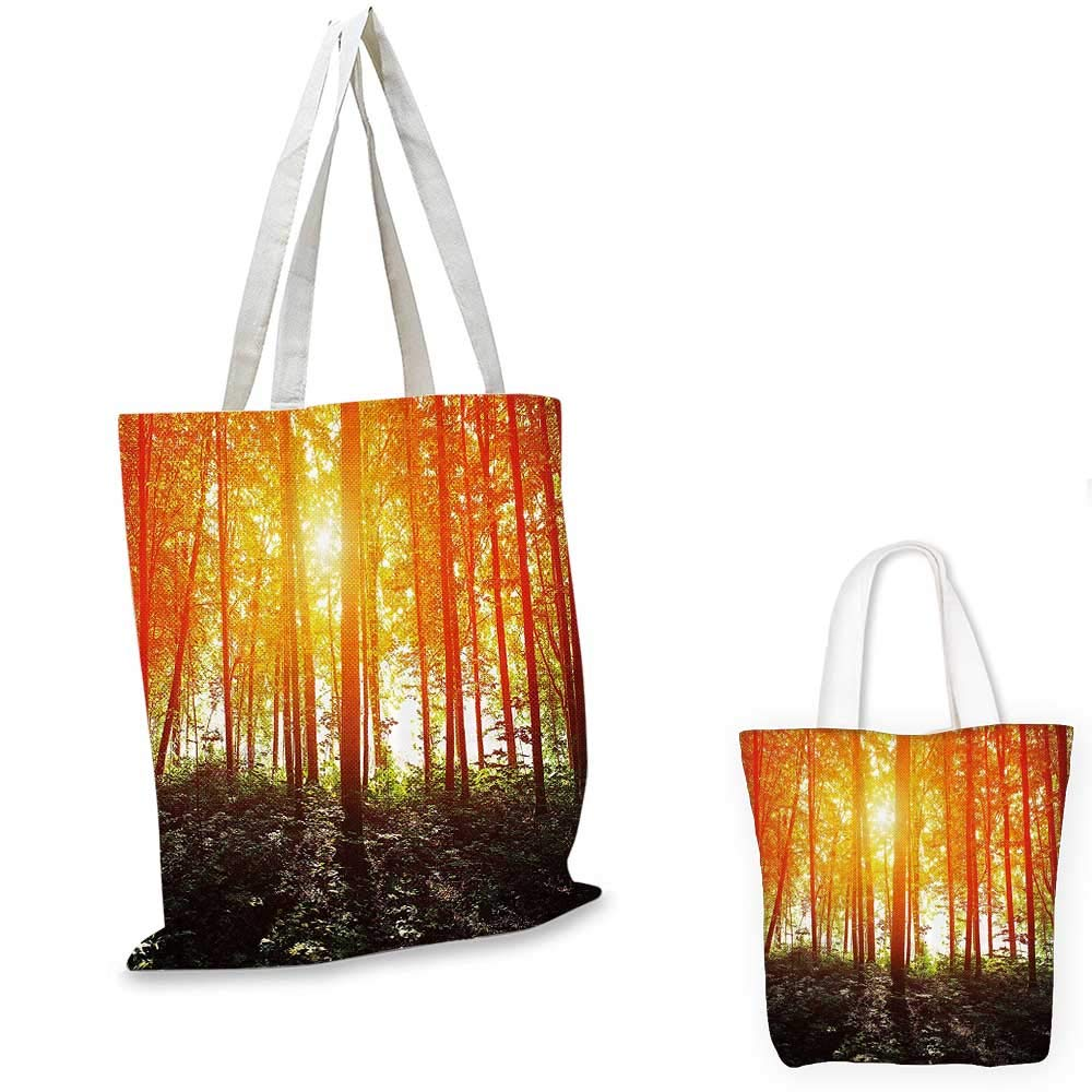 Nature canvas messenger bag Foggy Forest Scenery with Sunrays Reflecting on Trees Mystic Woodland Image canvas beach bag Orange Fern Green 12x15-10