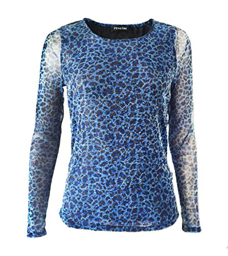 Fengtre Women's Round neck Sexy Mesh Sheer Shiny Loose Elastic Long Sleeve Blouse Basic Tops,Blue