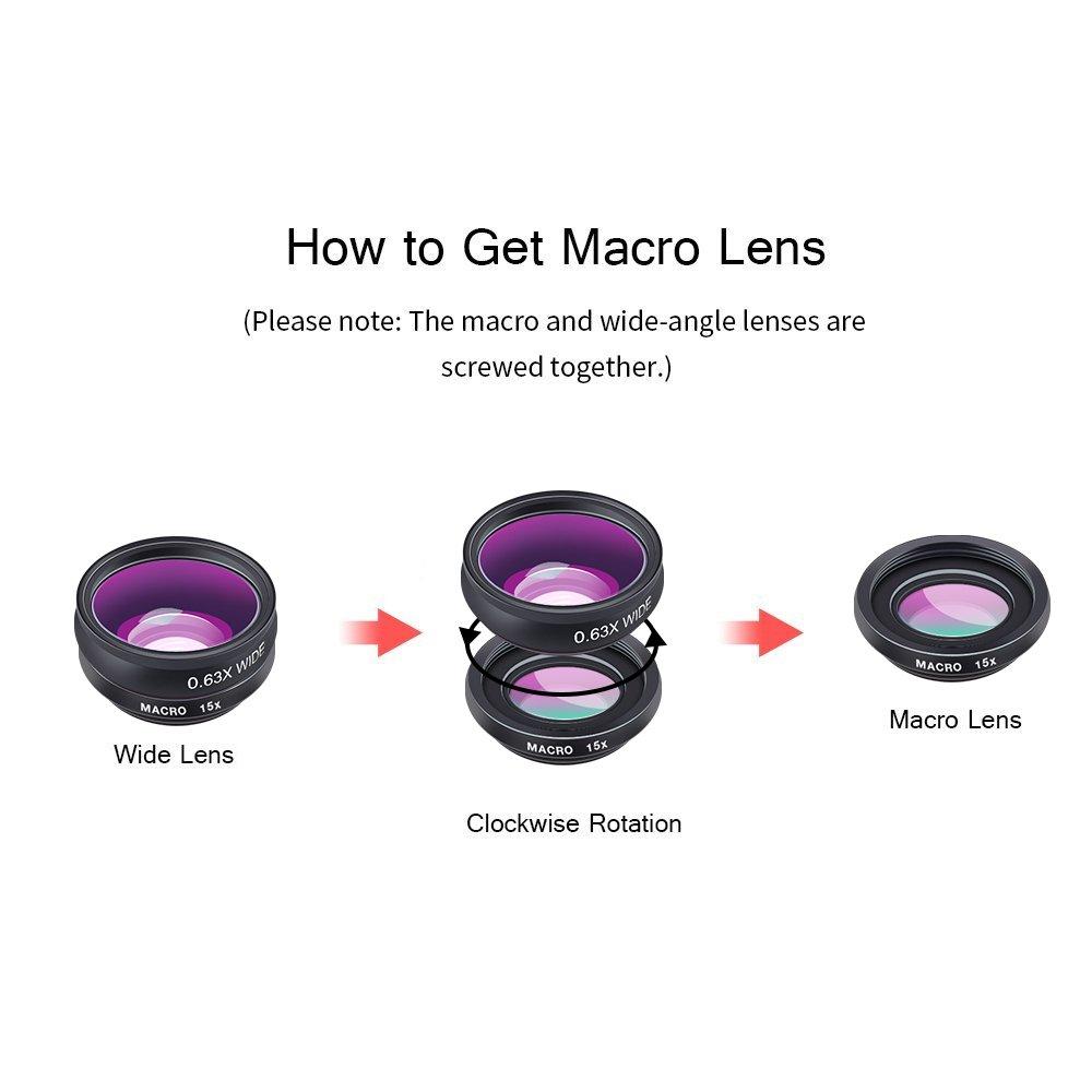 Apexel 10 in 1 Phone Camera lens kit Wide Angle lens + Macro lens + Fisheye lens + Telephoto lens + Kaleidoscope 3/6 lens + CPL/Flow/Star/Radial Filter Clip-on Phone for iPhone Samsung Most Smartphone
