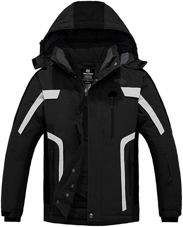 Wantdo Men's Mountain Waterproof Ski Jacket Warm Winter Snowboarding Jacket Snow Rain Coat